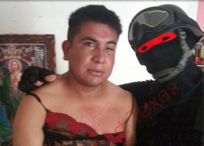 Marine Humiliates Mexican Drug Bosses By Making Them Wear Lingerie (3 pics)