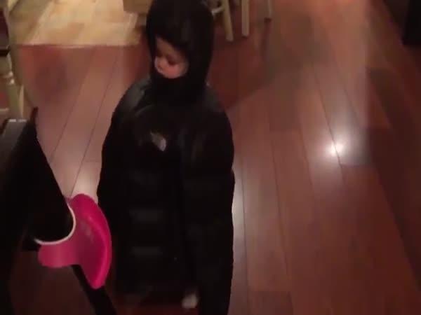 Girl Walks Around In A Creepy Coat