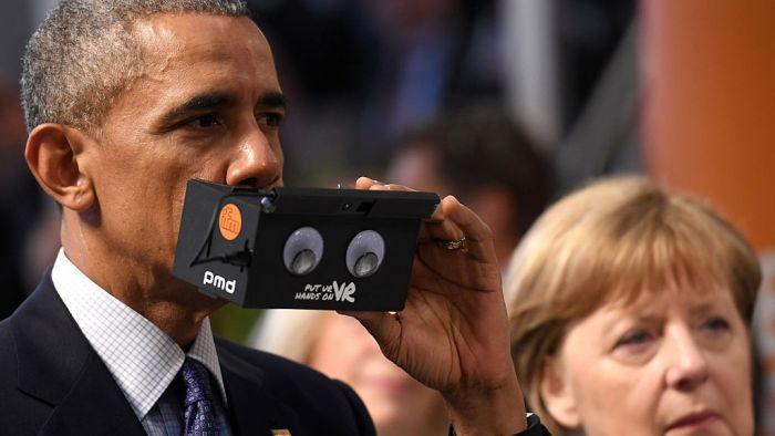 President Obama And Angela Merkel Test Virtual Reality Technology (5 pics)