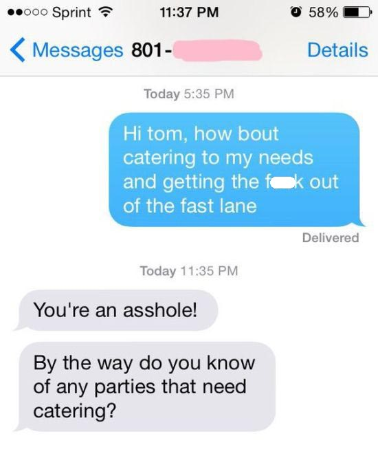 Awful Driver Gets Owned Via Text Message (2 pics)