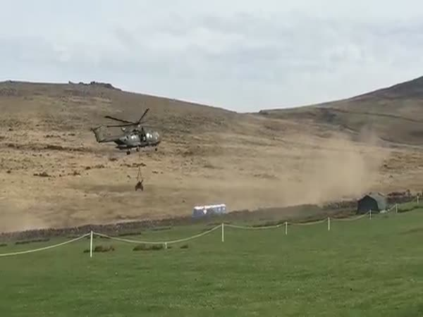 Merlin Helicopter Takes Out Portaloo Toilets