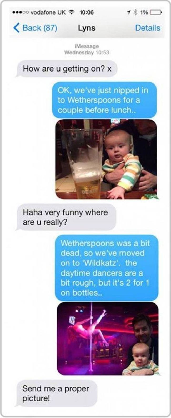 Husband Drives His Wife Crazy With Photoshopped Pictures Of Their Baby (2 pics)