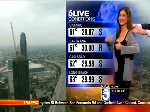 KTLA Meteorologist Liberte Chan Forced To Cover Up Revealing Black Dress