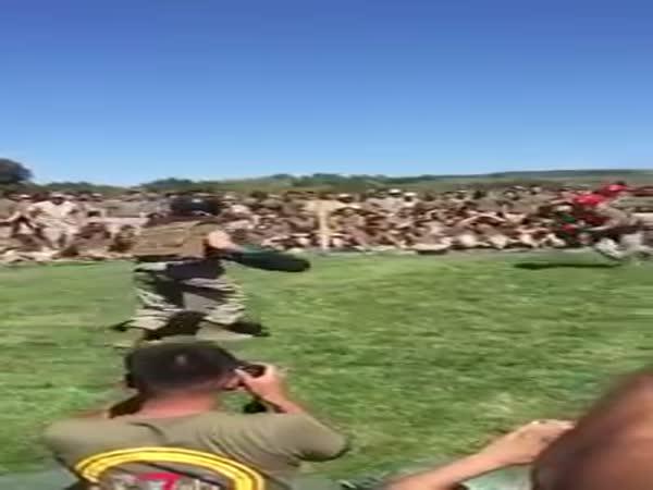 Female Marine Vs Male Marine In A Round Of Pugile Sticks