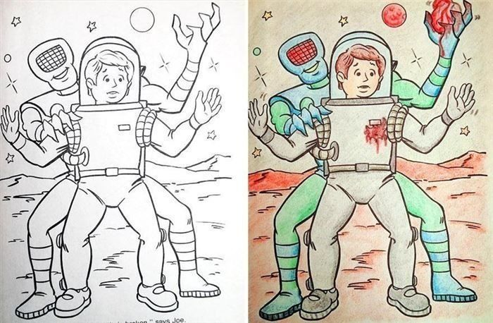 Children's Coloring Books That Were Violated By Adults (24 pics)