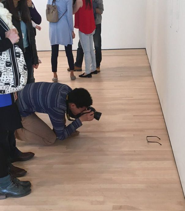 Everyone At The Museum Thought These Glasses On The Floor Were Art (6 pics)