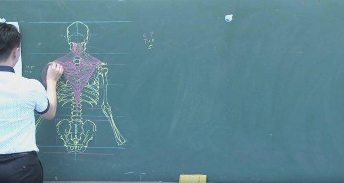 Chinese Teacher Has Some Serious Chalk Skills (7 pics)