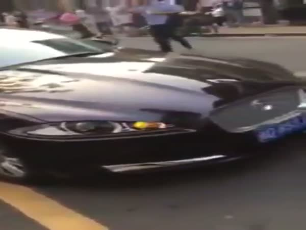 Double Parked Jaguar Gets Rammed By SUV In China