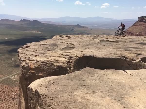 Guy Almost Falls Off Cliff While Mountain Biking