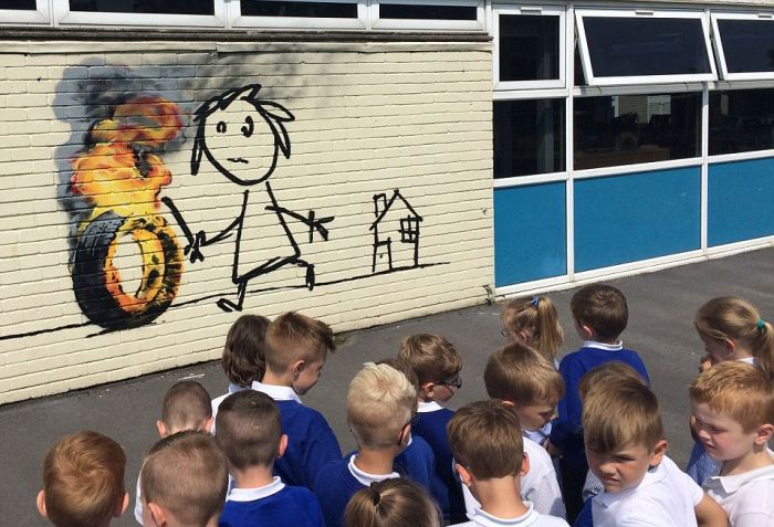 Banksy Paints Special Mural At Bridge Farm Primary School (5 pics)