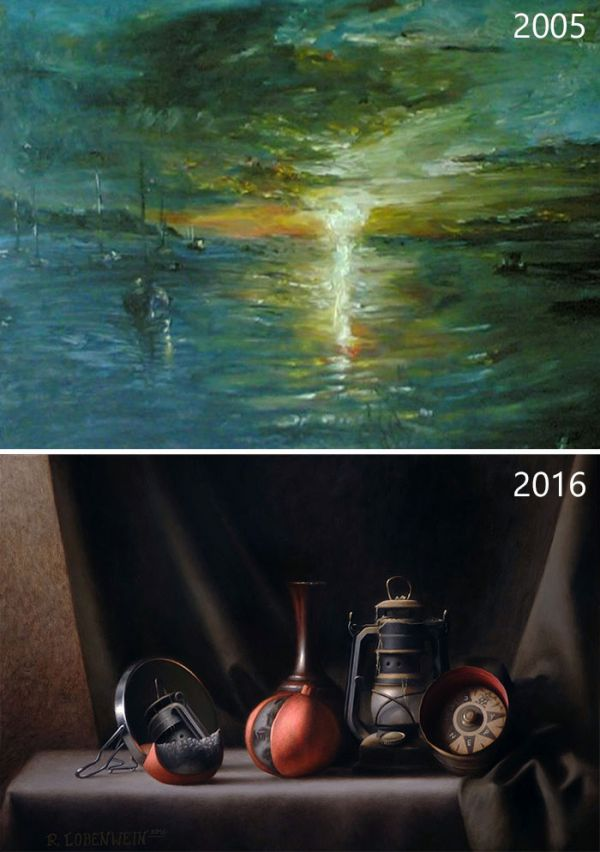 Before And After Drawings Show How Artists Progress Over Time (25 pics)
