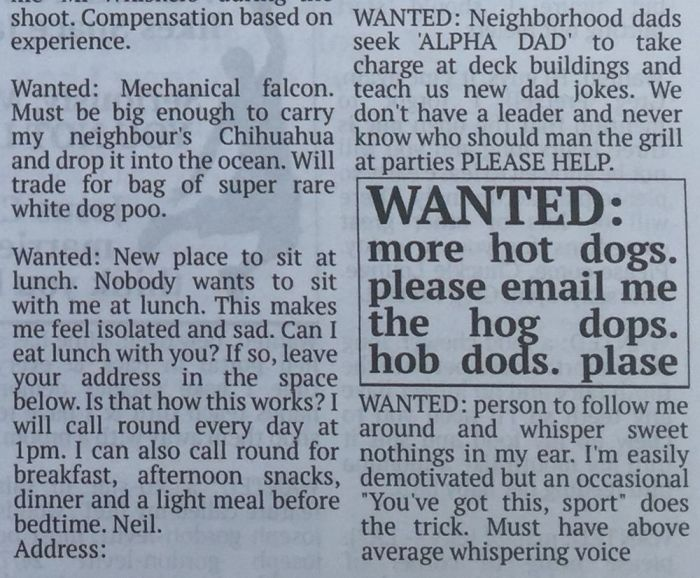 Hilarious Fake Want Ads From The Community Newspaper (11 pics)