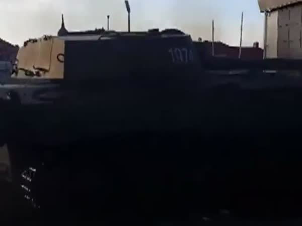 Self-Propelled Howitzer Crashes A Club