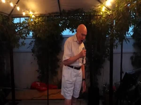 80 Year Old Sings Let The Bodies Hit The Floor At Karaoke