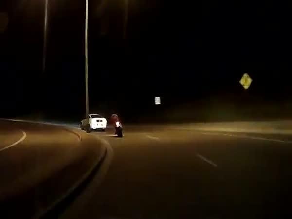 Mustang Knocks Dude Off Motorcycle