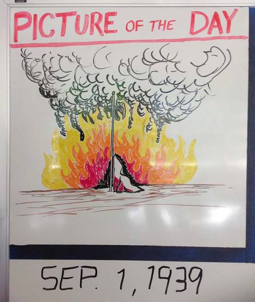 History Teacher Shows Off His Artistic Side On The Whiteboard (59 pics)