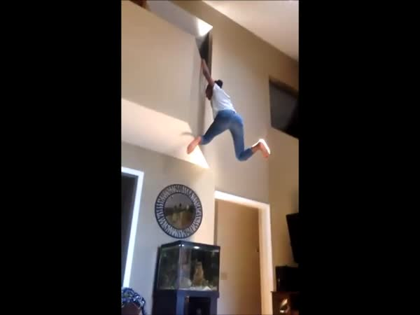 Girl Falls From Balcony Onto Fish Tank