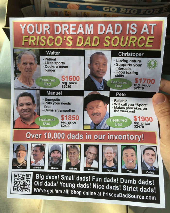 Fake Father's Day Flyer Wants To Help You Find Your Dream Dad (2 pics)