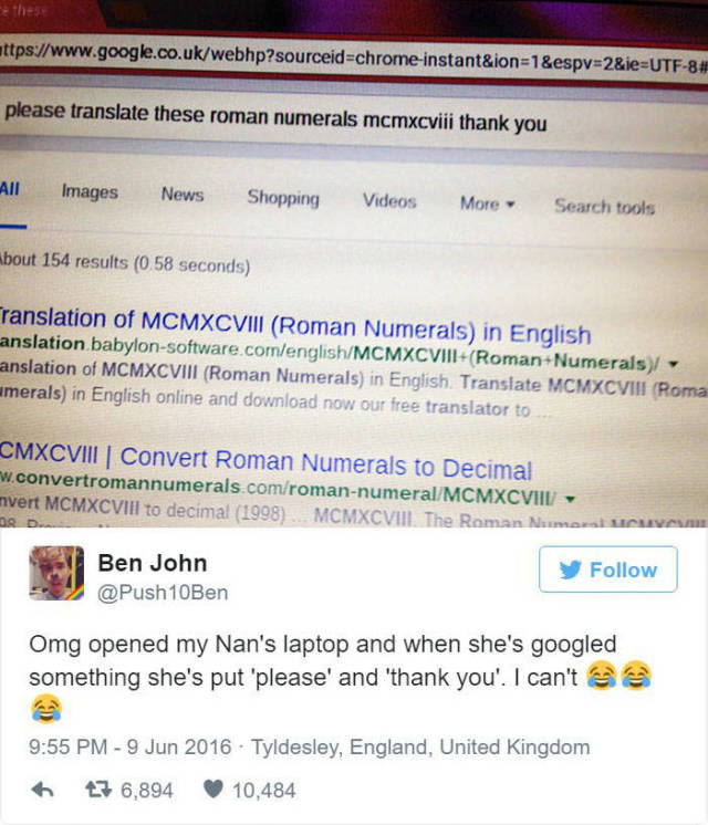 Guy Posts Polite Google Search From His Grandmother's Computer (3 pics)