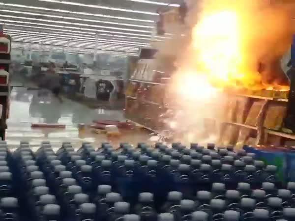 Idiots Light A Firework Display Inside Walmart