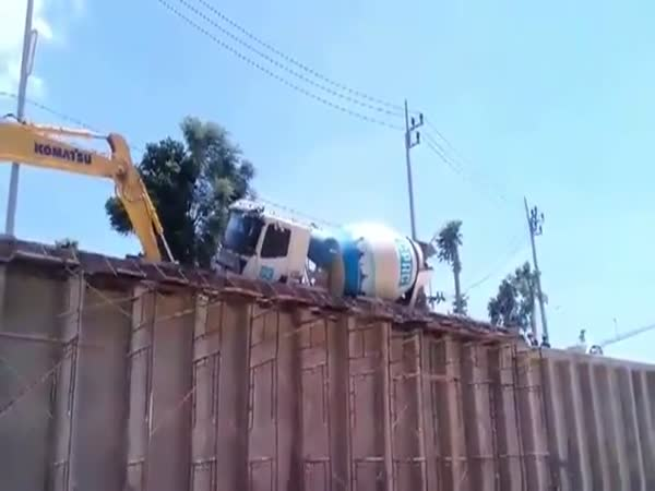 Cement Truck Driver Destroys Entire Project