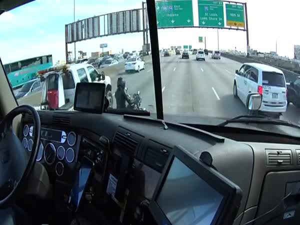Truck Driver Helps Biker