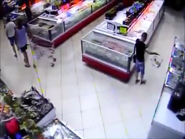 Fish Jumps Right Into Mans Grocery Basket