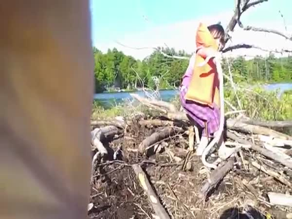 Little Girl Finds A Giant Snake