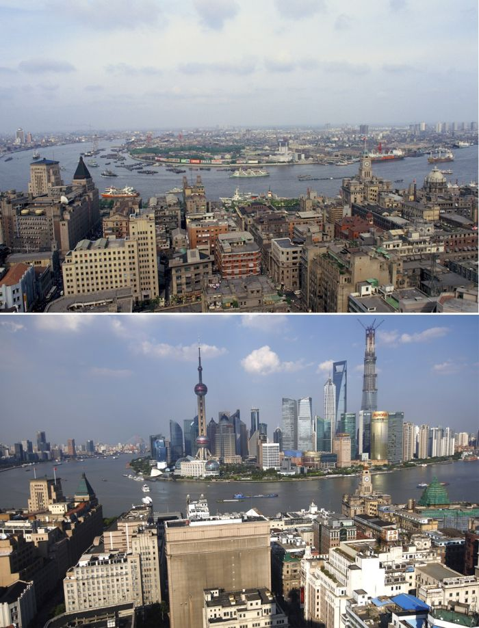 Famous Cities From Around The World Back In The Day And Today (14 pics)