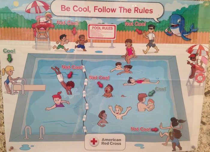 People Are Calling This Red Cross Pool Safety Poster Racist (3 pics)