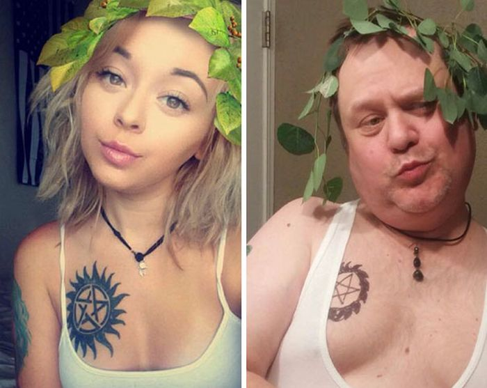 Dad Goes Out Of His Way To Troll His Daughter By Recreating Her Selfies (6 pics)