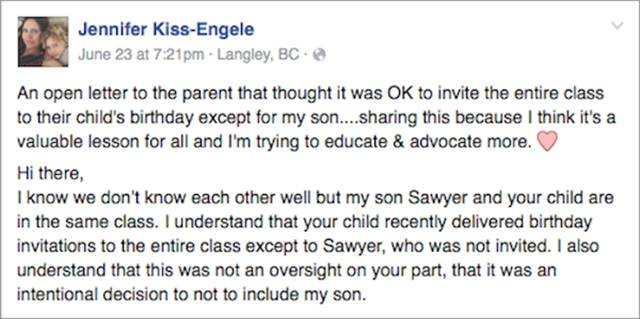 Mother Writes Open After Her Son Wasn't Invited To A Birthday Party (10 pics)