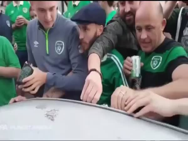 Ireland Fans Dent The Roof Of A French Car Fix It Straight Away