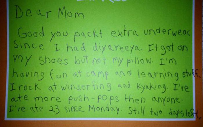 Boy Writes Adorable Letters To His Mom From Camp (3 pics)