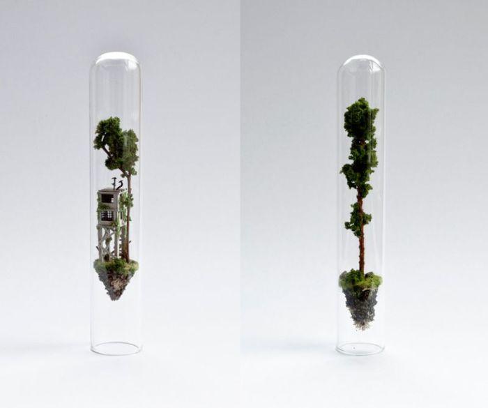Artist Creates Miniature Homes In Test Tubes (9 pics)