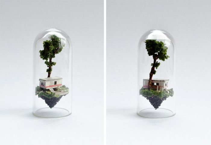 Artist Creates Miniature Homes In Test Tubes (9 pics)