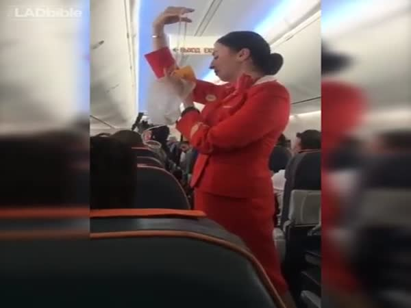 Football Fans Not Letting Air Hostess Concentrate