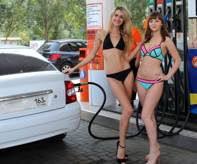 Russia Has A Gas Station That Gives Free Gas To Women In Bikinis (12 pics)