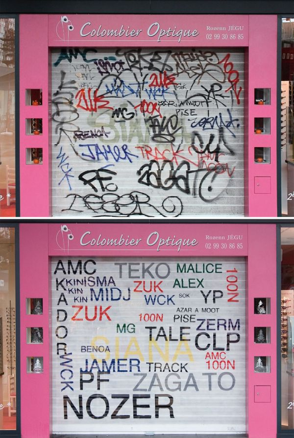 Street Artist Paints Over Ugly Graffiti To Make It Legible (8 pics)