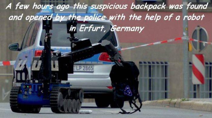 German Robot Investigates A Suspicious Backpack (2 pics)