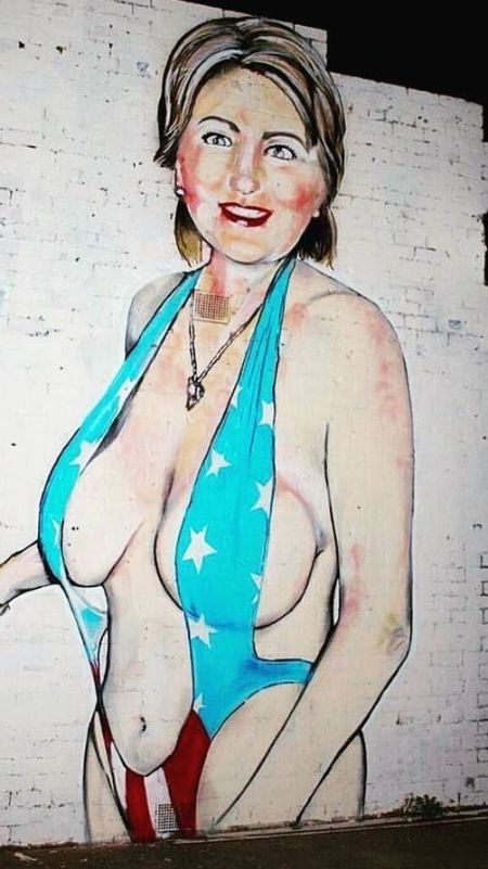 Nearly Naked Hillary Clinton Graffiti Gets Turned Into A Muslim Woman (2 pics)