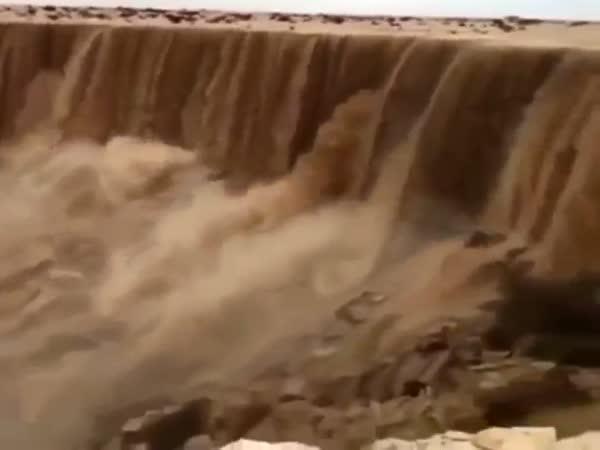 Amazing Sand Waterfall In The Desert