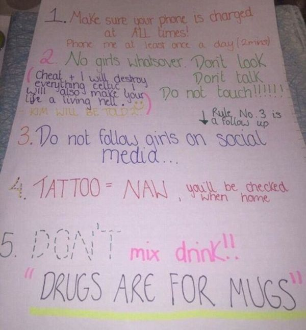 Girlfriend Gives Ridiculous List of Rules To Her Boyfriend Before Vacation (4 pics)