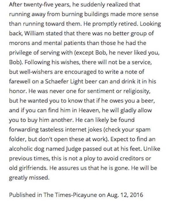 Man Shows Off His Sense Of Humor By Writing His Own Hilarious Obituary (3 pics)
