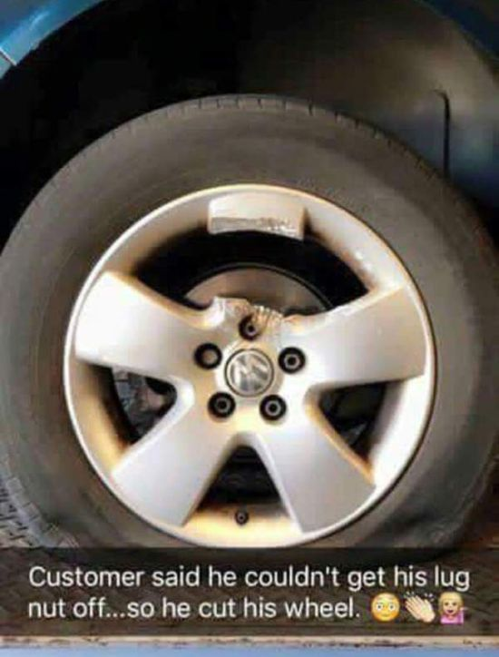 What To Do When The Lug Nut Won't Come Off (3 pics)