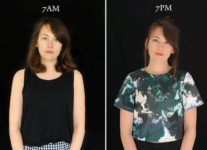Photo Series Shows What People Look Like At 7am Versus What They Look Like At 7pm (16 pics)