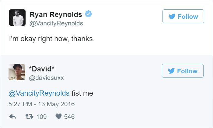 Ryan Reynolds Hilariously Responds To Inappropriate Fan Tweets (13 pics)