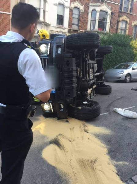 English DJ Flips His Car While Trying To Avoid A Car (6 pics)