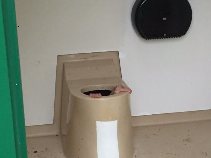 Man Gets Stuck In Public Toilet Tank For One Full Hour (4 pics)