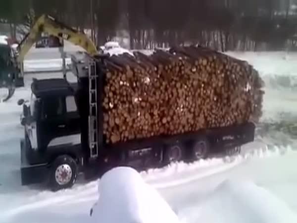 Truck Unloading Wood